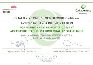Corian Certifikat