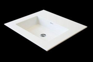 Corian håndvask: Lo-Quadra vask, min. 450 x 250 mm, max. 1200 x 350 mm