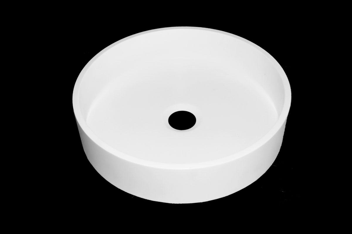 Rund Corian vask til topmontering